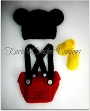 MICKEY MOUSE Ears Baby Diaper Cover Set ~ Diaper Cover, Booties, Hat