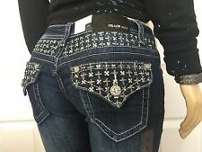 GRACE IN LA JEANS SILVER SEQUINS BOOTCUT NWT