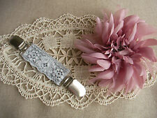 Vintage Pearl & Magnolia Ruffle Lagenlook Clothes Clip~Dress~Scarf Clincher~OSFA