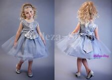 Bow Sequined Trimmed Wedding Flower Girl Pageant Party Dresses Size 2T-10 FG314
