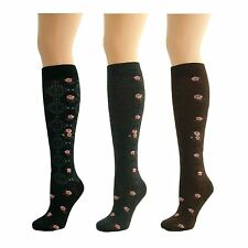 3 Pairs Womens Ladies Girls Knee High Long Flower Pattern Socks New