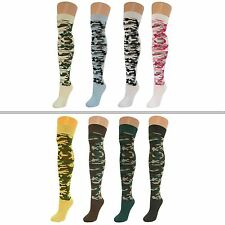 4 Pairs Womens Ladies Girls Over Knee Thigh High Camouflage Pattern Socks New