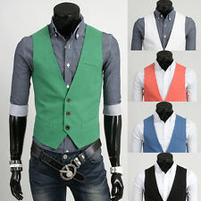 Fashion Men Slim Fit Waistcoat Vest Casual Business Formal Dress Solid Tops