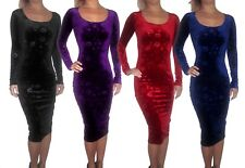 NUOVO Velluto Velour NATALE Floreale Bodycon Midi Sexy LONG SLEEVE DRESS 8 - 18