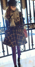 classic Vintage Plaid Coat Winter Womens Slim Woolen Outwear Trench Jacket AE100