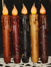 """7"""" LED Auto TIMER Battery Flicker Taper Candles Grungy Primitive 5 Colors"""