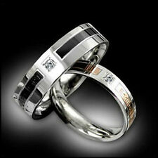 Crystal Titanium Steel Promise Ring Lovers Couple Wedding Bands + Ring box RJ09Z