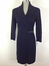 Calvin Klein NEW Cable sweater dress Twilight Navy , long sleeve,shawl collar