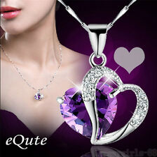 Fashion Heart Crystal Rhinestone Amethyst Sterling Silver Chain Pendant Necklace