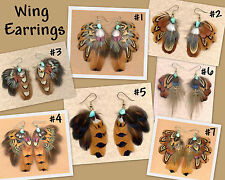 CUSTOM Real Pheasant Feather Earrings/Wing Design-COOL! ~ Handmade in USA!