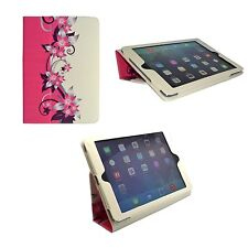 APPLE IPAD IPAD 2, 3, 4 PINK AND CREAM FLOWER DESIGN PU LEATHER CASE COVER