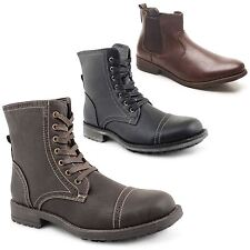Mens Low Heel Military Biker Lace Up Army Combat Chelsea Ankle Boots Shoes 7-12
