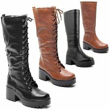 New Ladies Womens Chunky Heel Punk Goth Lace Up Biker Knee High Boots Size 3-8
