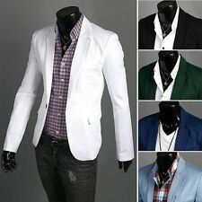 Stylish Men's Slim fit Casual One Button Suit Blazer Coat Jackets 5 Sizes/Colors