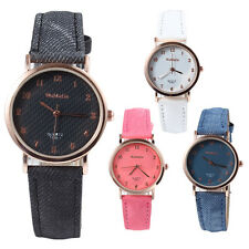 New Women's Small  Round Dial PU Leatheroid Band Quartz Wrist Watches