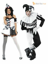 Harlequin Jester Clown Costume Halloween Medieval Adult Mens Ladies Fancy Dress