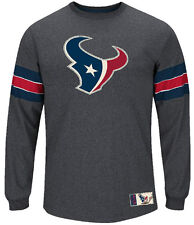 Majestic Houston Texans Mens Charcoal Team Spotlight 3 Felt Long Sleeve Shirt