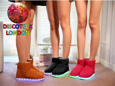 WOMENS LADIES GIRLS LED FLASHING PARTY SNUG CLUB FUR LIGHT UP ANKLE BOOTS SHOES