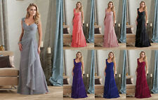 New Stock Chiffon Evening Formal Party Ball Gown Prom Bridesmaid Dress Size 6-16