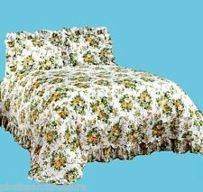 Full Size Plisse Floral Bedspread, Yellow, Gold, Roses, Ribbons, dust ruffle