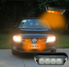 4 LED Amber White Light Emergency Light Bar Hazard Strobe Warning Car Truck ATV