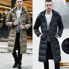 New Mens Full Length DucK Down Hooded Winter warm  Long Puffer Jacket Coat Parka