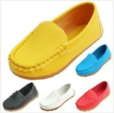 Boys Girls PU Leather Oxford Flat Shoes Kids Baby Boat Sneakers Slip On Loafers