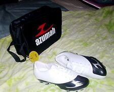 AZUMAH BOY'S SPORTS SHOES  WITH BAG - WHT/BLK - SZ: 12, 3