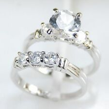 White Sapphire 925 Sterling Silver Engagement Wedding Ring Size 6 7 8 9 10 11