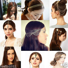 Elegant Lady Metal Clip Stunning Crystal Hair Accessories Tassels Chain HairPin