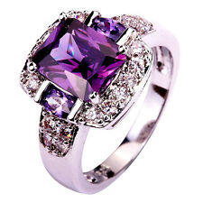 Noble Amethyst White Topaz Gemstone Silver Jewelry Men Women Ring Size 7 8 9 10