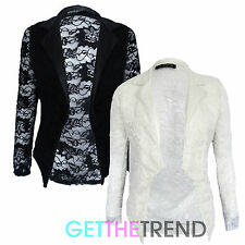 Womens All Lace Open Front Blazer Ladies Full Sleeve Lace Cropped Jacket Blazer