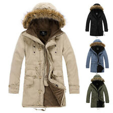 2015 SALE~ Mens Thicken Winter Warm Padded Hooded Furry Coat Outerwear STORMCOAT