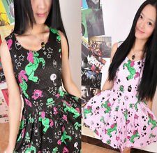 HARAJUKU Pastel Goth Punk Rave Zombie Unicorn Star Skull Eye Pleated Dress Cute
