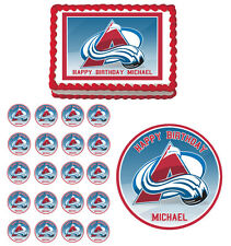 Colorado Avalanche Edible Birthday Party Cake Cupcake Toppers Decorations