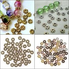 100Pcs 6mm Antique Silver/Gold/Bronze Tone Daisy Flower Spacer Beads Diy Hotsale