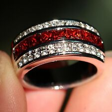 Antique Jewelry Men's Garnet Diamonique 10KT White Gold Filled Band Ring Sz 8-13