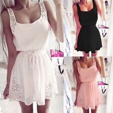 Sexy Women's White Sleeveless Summer Square Neck Mini Party Beach Dress UK 6-16