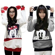 Damen Mädchen Mickey Minnie Mouse Top T-shirt Sweatshirt Kapuzen Pullover Shirt