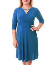 WOMAN V NECK 3/4 SLEEVE DRESS IN TEAL AND BLACK SIZES LARGE AND 3XL