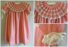 Heirloom Dress in Coral with ecru/beige french lace, Easter Heirloom Dress