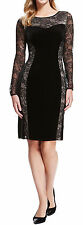 Marks and Spencer Collection Ladies Black Lace Velour Dress UK 8 - 12