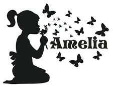 PERSONALISED WALL STICKER CHILD'S NAME GIRLS Children's bedroom Custom decal