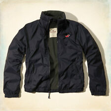 Hollister by Abercrombie Men's Fleece Lined Jacket Rain Coat Nylon Wind Breaker