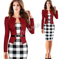 Sexy Women Long Sleeve Plaids Skirt Bodycon Cocktail Party Evening Pencil Dress