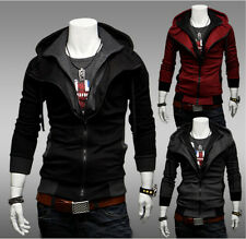 New Mens Fashion Slim Fit Hooded 2015 Punk New Hoodies Leave two Coats Jackets