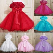New Kids Toddler Girls Tulle Flower Bowknot Bridesmaid Party Wedding Dress