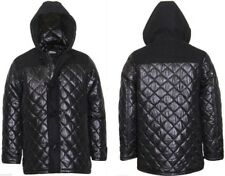 Mens hooded diamond Quilted duffle coat Jacket Full Zip toggle black New