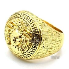 (SWAGGERS) NEW MENS HIP HOP RAPPER BIG CHUNKY GOLD GREEK MEDUSA DESIGN RING