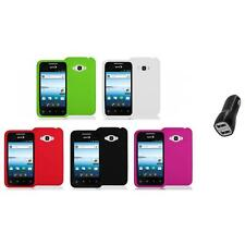 Silicone Color Soft Gel Case Cover+2.1A Charger for LG Optimus Elite LS696 Phone